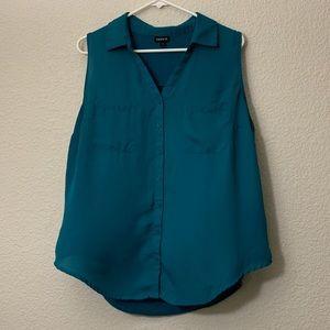 Torrid Teal Sleeveless Button Down Shirt Size 1
